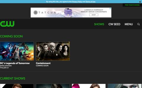 Screenshot of Menu Page cwtv.com - The CW Television Network | CW Shows | Official CW Show Pages - captured Jan. 13, 2016