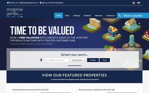 Screenshot of Home Page moginiejames.co.uk - Moginie James - Cardiff Estate Agent - captured Feb. 17, 2016