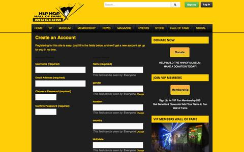 Screenshot of Signup Page hiphophof.tv - Create an Account | Hip Hop Hall of Fame - captured Oct. 2, 2014