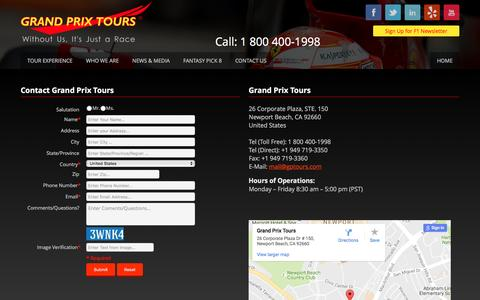 Screenshot of Contact Page gptours.com - Grand Prix Tours: Formula 1 Packages Race Tickets Hotels - captured Nov. 13, 2016