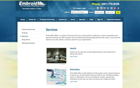 Screenshot of Services Page embroidme-npb.com - EmbroidMe of Palm Beach Gardens - Services - captured Oct. 2, 2014