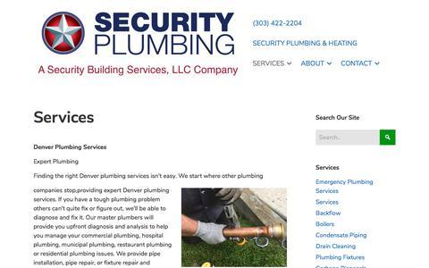 Screenshot of Services Page securitybuildingservices.com - Denver Plumbing Services, Plumber   Security Plumbing   Denver - captured Sept. 25, 2018