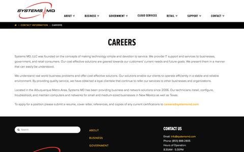 Screenshot of Jobs Page systemsmd.com - Careers - captured Dec. 10, 2016