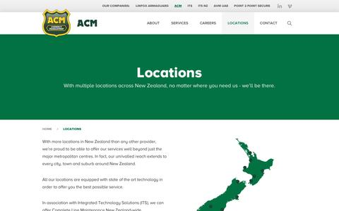 Screenshot of Locations Page acmnz.co.nz - Locations | ACM - captured Feb. 4, 2016