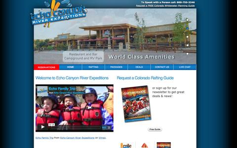 Screenshot of Home Page raftecho.com - Colorado White Water Rafting - Serving Colorado Springs, Denver & Other Surrounding Colorado Areas - captured Oct. 1, 2014