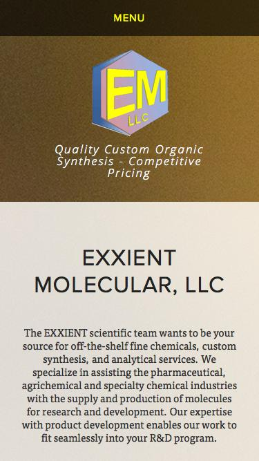 Screenshot of Home Page  exxient.com - EXXIENT Molecular, LLC