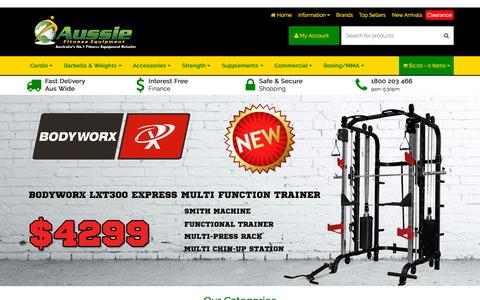 Screenshot of Home Page aussiefitness.com.au - Cheap Gym & Fitness Equipment Perth, Sydney, Adelaide, Brisbane & Melbourne - captured Sept. 14, 2015