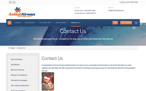 Screenshot of Contact Page animalairways.com - Contact Us - captured July 30, 2018