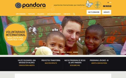 Screenshot of Home Page aipc-pandora.org - www.aipc-pandora.org | Experiencias internacionales que transforman - captured Dec. 22, 2015