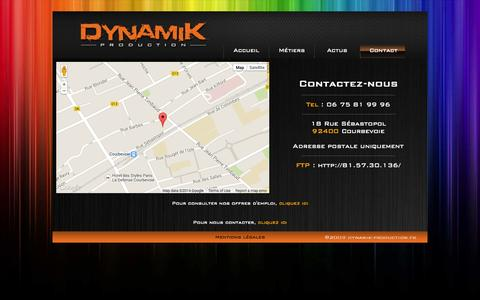 Screenshot of Contact Page dynamik-production.fr - DYNAMIK PRODUCTION - Contact - captured Sept. 30, 2014