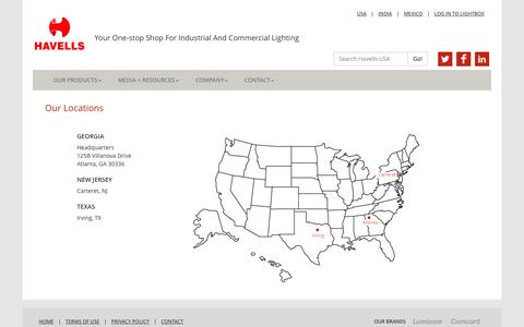 Screenshot of Locations Page havells-usa.com - Havells USA - Locations - captured Oct. 28, 2014