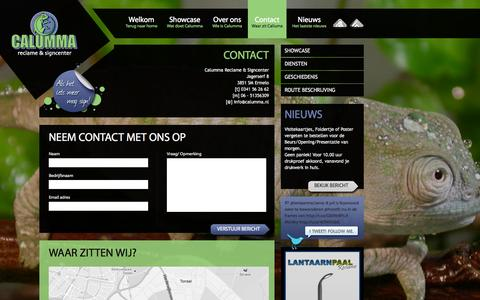Screenshot of Contact Page calumma.nl - Contact - Reclame Ermelo - Calumma - captured Oct. 1, 2014