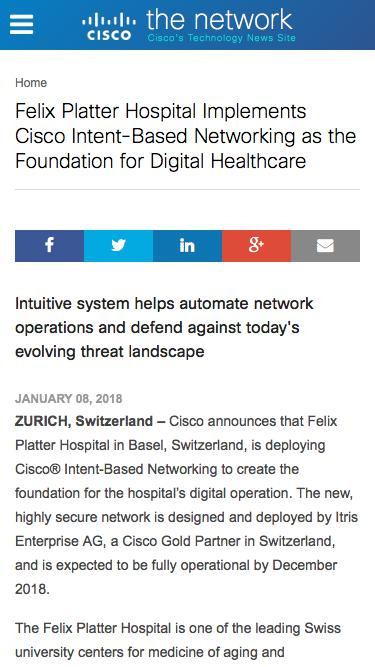 Screenshot of Press Page  cisco.com - Felix Platter Hospital Implements Cisco Intent-Based Networking | The Network