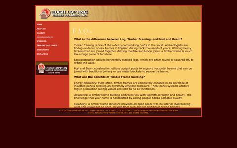 Screenshot of FAQ Page hughloftingtimberframe.com - Hugh Lofting Timber Framing, Inc. - captured Oct. 3, 2014