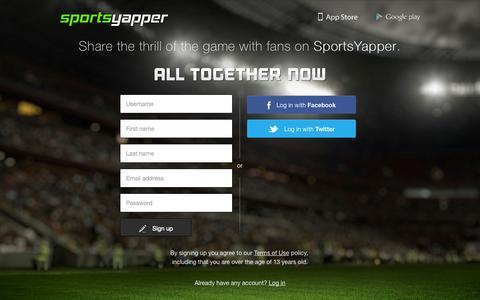 Screenshot of Signup Page sportsyapper.com - SportsYapper | Sign Up - captured Sept. 17, 2014