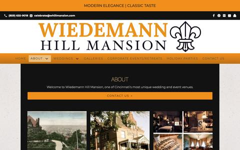 Screenshot of About Page whillmansion.com - About   Newport, KY   Wiedemann Hill Mansion - captured Oct. 18, 2018