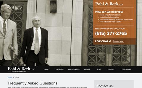 Screenshot of FAQ Page pohlberk.com - Frequently Asked Personal Injury Questions, FAQs   Pohl & Berk, LLP - captured Sept. 24, 2018