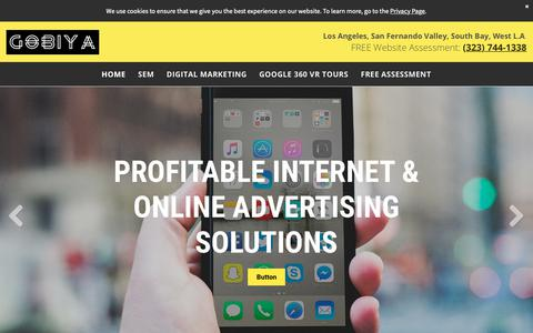 Screenshot of Home Page gobiya.com - Los Angeles Internet Marketing and SEO Service | Gobiya Online Marketing & Website Design Company, Agency, Firm - captured April 11, 2019