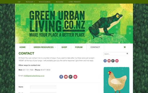 Screenshot of Contact Page greenurbanliving.co.nz - CONTACT - Green Urban Living - captured Oct. 27, 2014