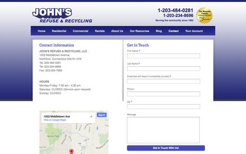 Screenshot of Contact Page johnsrefuse.com - Contact Us | John's Refuse & Recycling | Connecticut - captured Sept. 30, 2014