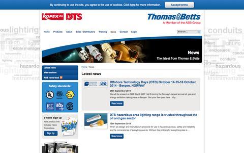 Screenshot of Press Page tnb-hazardous.com - News - Thomas & Betts - captured Oct. 6, 2014