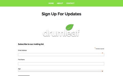 Screenshot of Signup Page drumleaf.com - DRUMLEAF » Sign Up For Updates | GAMES FOR GOOD - captured Oct. 29, 2014