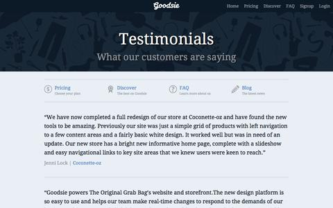 Screenshot of Testimonials Page goodsie.com - What our ecommerce software customers are saying | Goodsie - captured Sept. 19, 2014