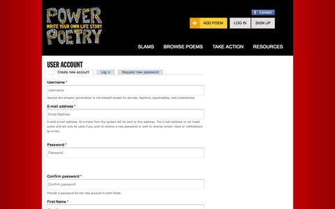 Screenshot of Signup Page powerpoetry.org - User account | Power Poetry - captured Sept. 25, 2014