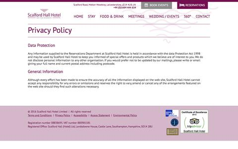 Screenshot of Privacy Page scalfordhall.co.uk - Privacy Policy - Melton Mowbray | Scalford Hall Hotel - captured Nov. 19, 2016