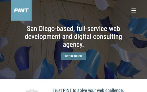Screenshot of Home Page pint.com - San Diego Web Development and Design | PINT - captured July 12, 2018