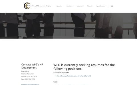 Screenshot of Jobs Page wfgnationaltitle.com - Careers - WFG National Title Insurance Company - captured Aug. 20, 2019