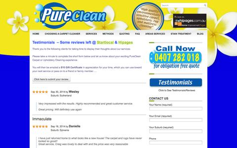 Screenshot of Testimonials Page pureclean.com.au - Pureclean Carpet Cleaning Testimonials | Carpet Cleaning St George Sutherland Shire - captured Oct. 1, 2014
