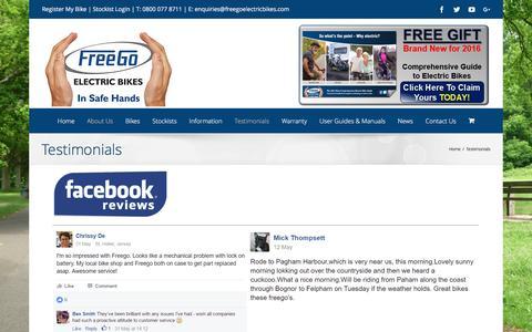 Screenshot of Testimonials Page freegoelectricbikes.com - Testimonials | Freego Electric Bikes - captured Nov. 19, 2016