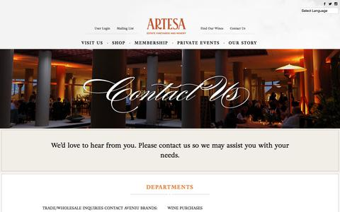 Screenshot of Contact Page artesawinery.com - Contact Us - Artesa Winery - captured Jan. 10, 2018