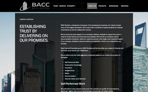 Screenshot of About Page baccbuilders.com - BACC Builders | Company Overview - captured Sept. 30, 2014