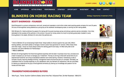 Screenshot of Team Page blinkerson.com - Thoroughbred Horse Racing Partnership Team - Blinkers On Thoroughbred Horse Racing Stable - captured Oct. 5, 2014