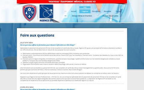 Screenshot of FAQ Page agencespi.org - Agence SPI - FAQ - captured Nov. 19, 2016