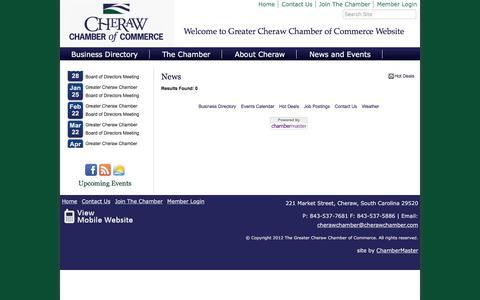 Screenshot of Press Page cherawchamber.com - News - Greater Cheraw Chamber of Commerce, SC - captured June 17, 2016