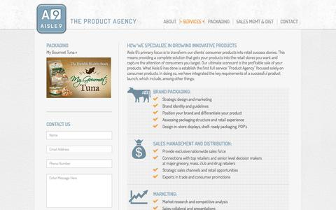 Screenshot of Services Page aisle9group.com - Branding and Product Development, Package Design, Market Research Agency |Aisle 9 Group - captured Sept. 30, 2014
