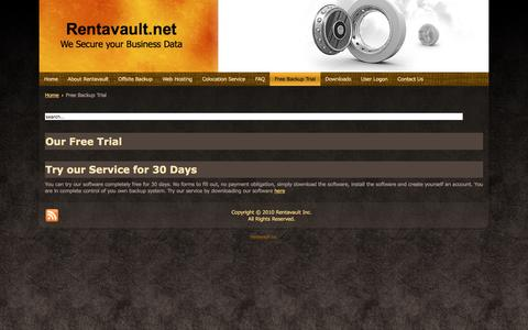 Screenshot of Trial Page rentavault.net - Our Free Trial - captured Jan. 6, 2017