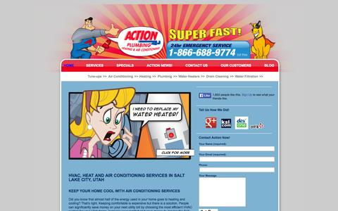 Screenshot of Home Page actiontotherescue.com - Salt Lake City Plumber & Air Conditioning Specialist – Action Plumbing - captured Oct. 4, 2014