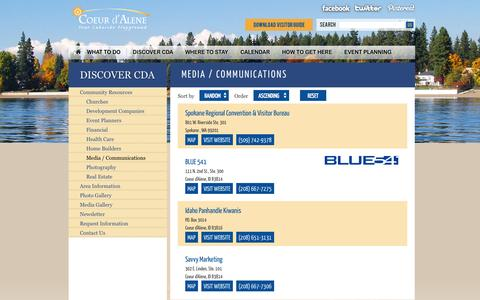 Screenshot of Press Page coeurdalene.org - Media / Communications | Coeur d'Alene Visitors - captured Sept. 23, 2014