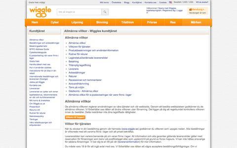 Screenshot of Terms Page wiggle.se - Wiggle Kundtjänst - captured Oct. 31, 2014