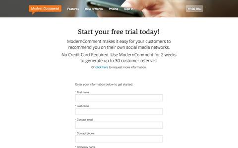 Screenshot of Trial Page moderncomment.com - Request FREE Trial | ModernComment - captured Sept. 19, 2014