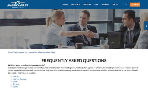 Screenshot of FAQ Page americafirst.com - Frequently Asked Questions- America First Credit Union - captured Sept. 15, 2017