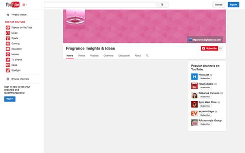 Screenshot of YouTube Page youtube.com - Fragrance Insights & Ideas  - YouTube - captured Oct. 23, 2014