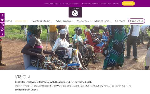 Screenshot of About Page cepdghana.org - Vision and Mission - Cepdghana - captured Sept. 27, 2018