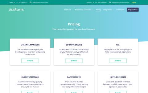 Screenshot of Pricing Page axisrooms.com - AxisRooms | Pricing plans for all hotel business - captured July 13, 2018