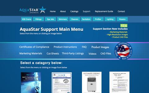 Screenshot of Support Page aquastarpoolproducts.com - AquaStar Pool Products | Support - captured July 30, 2018
