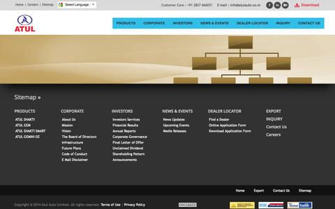 Screenshot of Site Map Page atulauto.co.in - ATUL AUTO LIMITED - captured Oct. 30, 2014